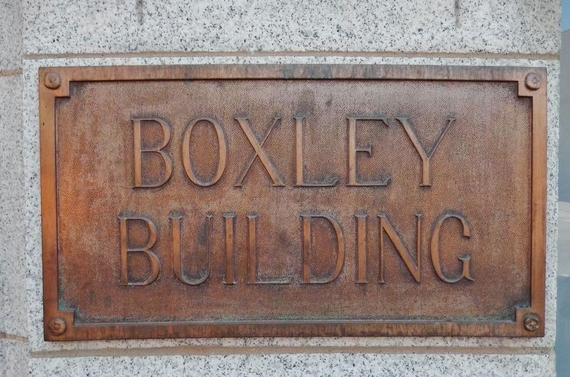 Boxley Building Plaque (<i>mounted at entrance near northwest corner of building</i>) image. Click for full size.