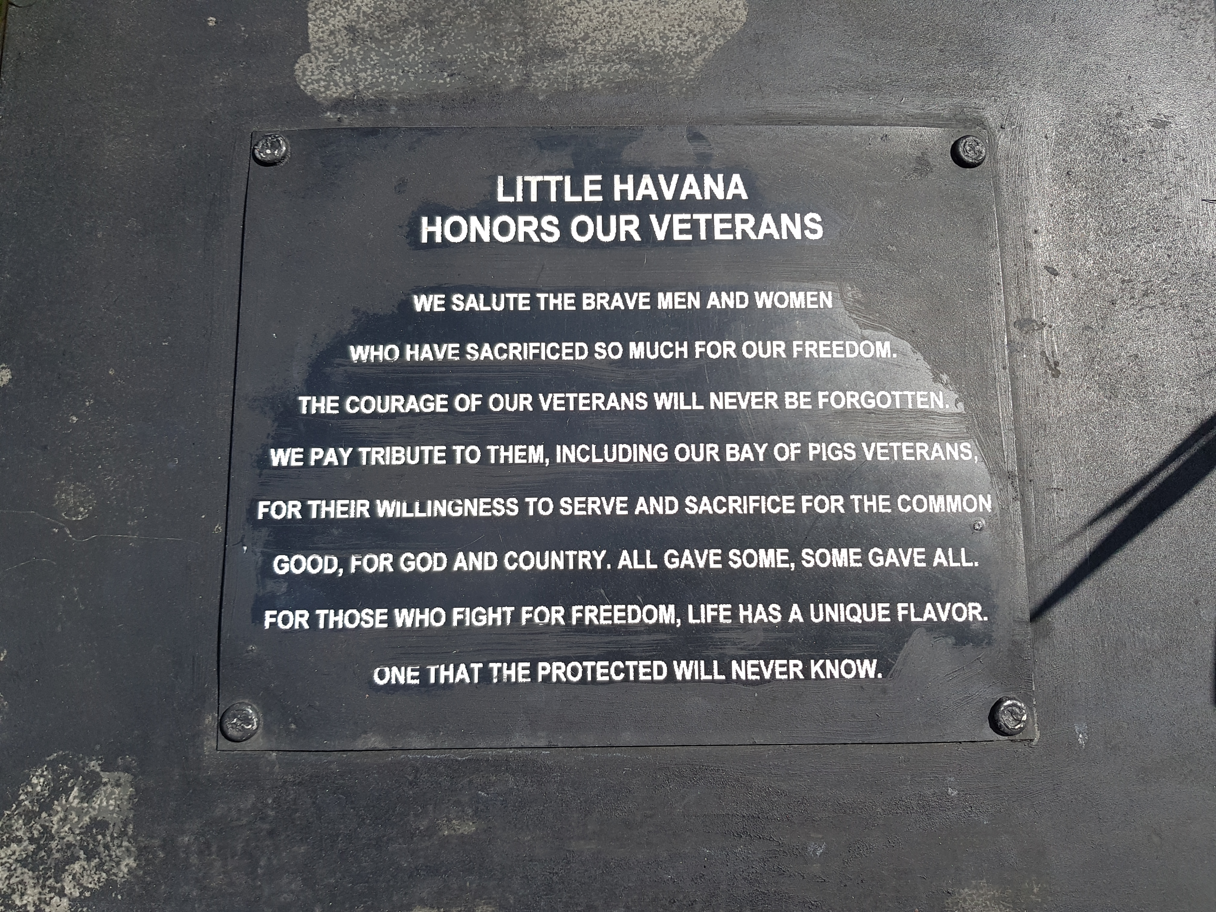 Little Havana Honors Our Veterans Marker