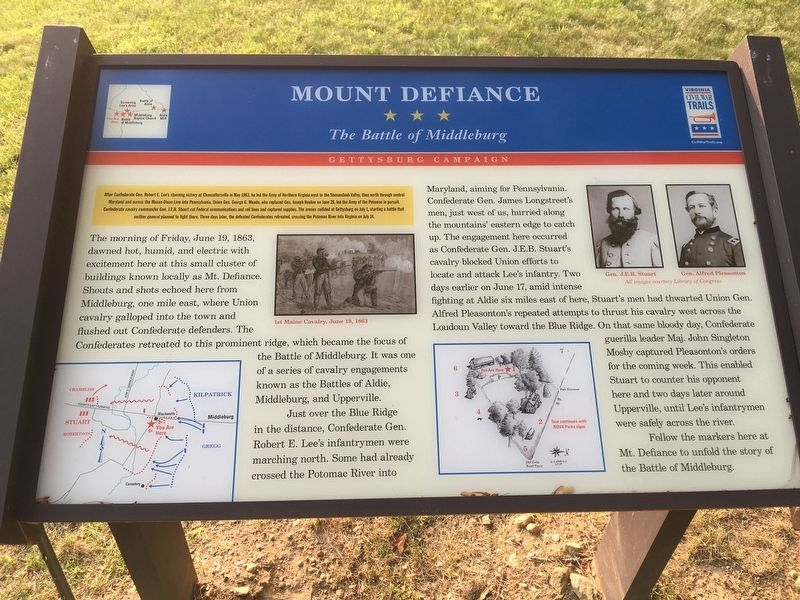 Mount Defiance Civil War Trails Marker image. Click for full size.