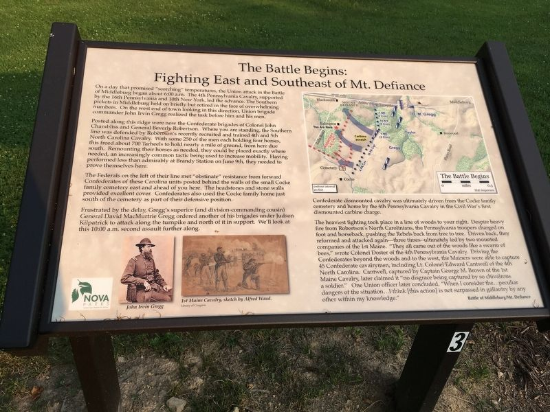 The Battle Begins: Fighting East and Southeast of Mt. Defiance Marker image. Click for full size.