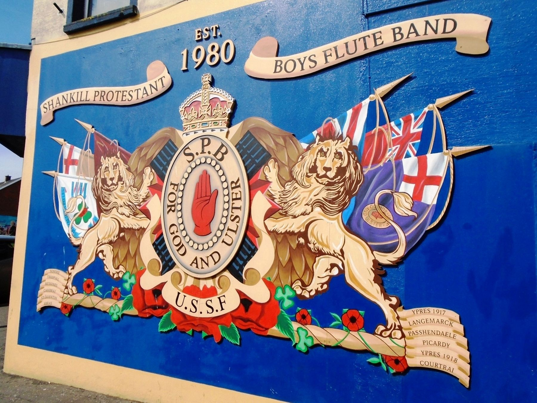 Shankill Protestant Boys Flute Band Mural image. Click for full size.