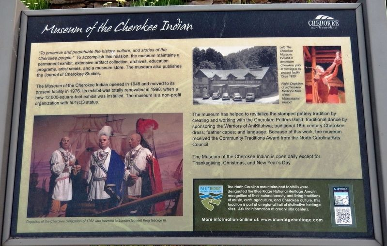 Museum of the Cherokee Indian Marker image. Click for full size.