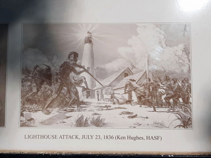 """Lighthouse Attack, July 23, 1836"" by Ken Hughes image. Click for full size."