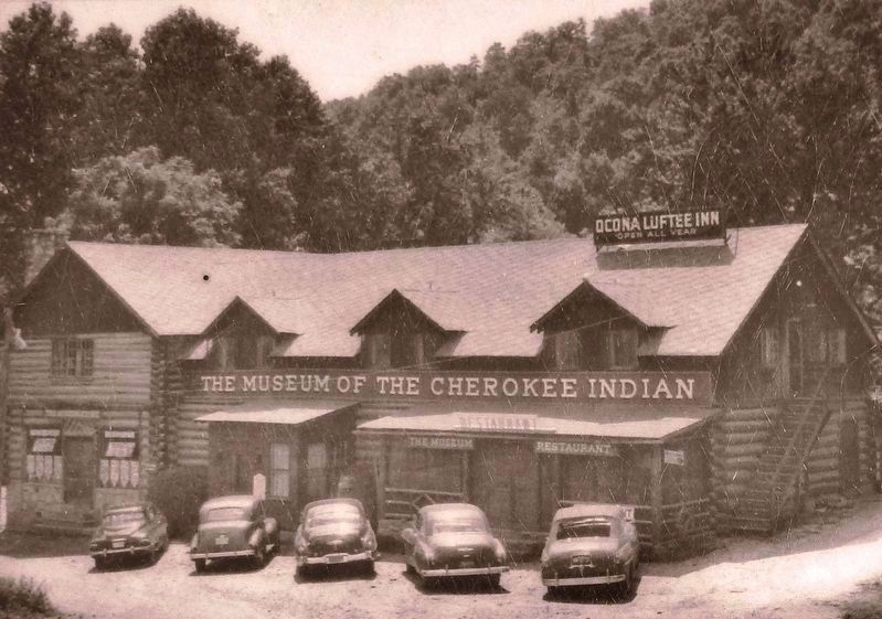 Marker detail: The Cherokee Museum<br>(<i>previsouly in downtown Cherokee, circa 1950</i>) image. Click for full size.