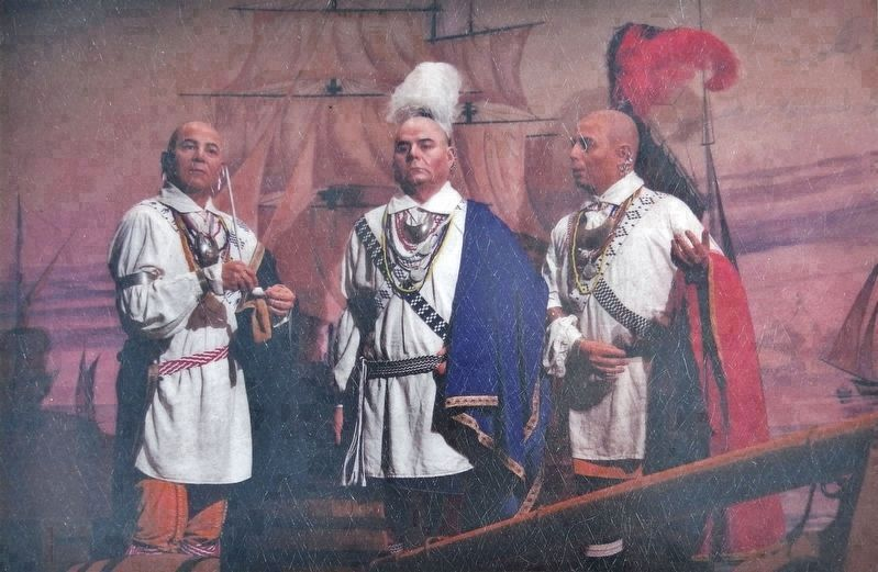 Marker detail: Depiction of 1762 Cherokee Delegation who traveled to London to meet King George III image. Click for full size.