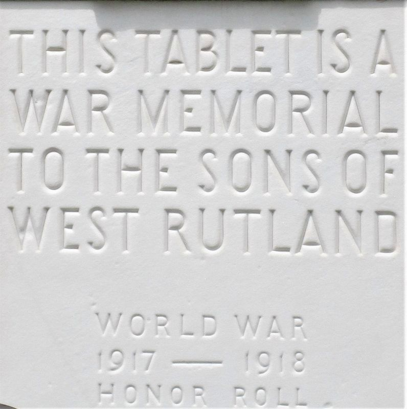 West Rutland WWI Honor Roll Marker image. Click for full size.