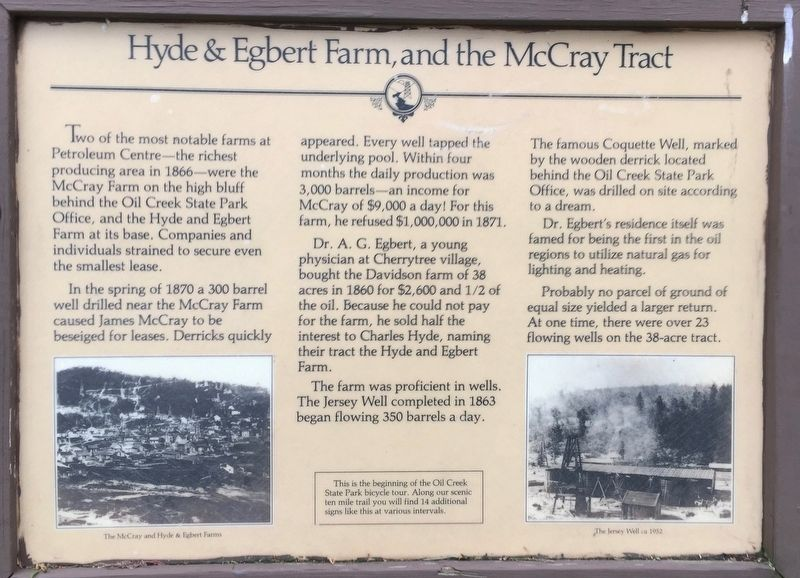 Hyde & Egbert Farm, and the McCray Tract Marker image. Click for full size.
