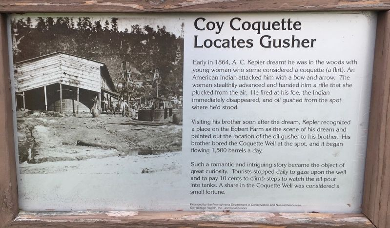 Coy Coquette Locates Gusher Marker image. Click for full size.