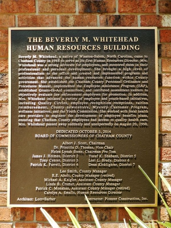 The Beverly M. Whitehead Human Resources Building Marker image. Click for full size.