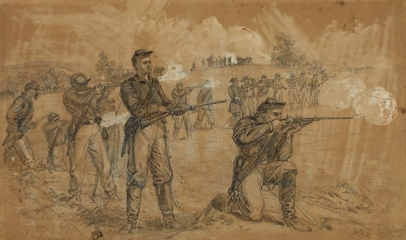 1st Maine Cavalry Skirmishing image. Click for full size.