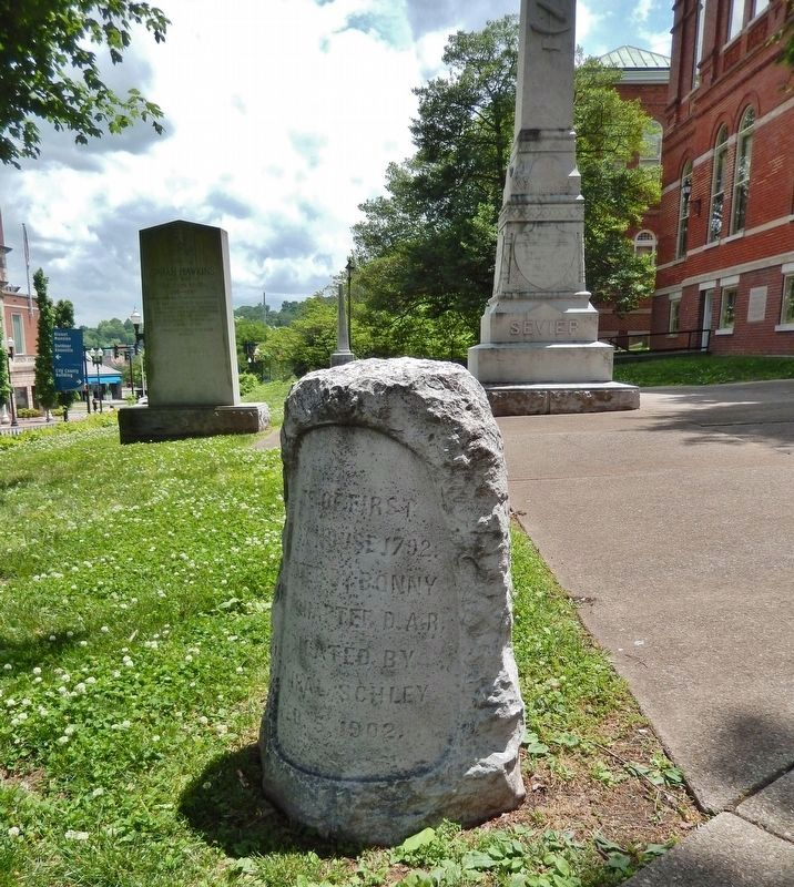Site of First Block House Marker (<i>wide view<br>Knox County Courthouse in right background</i>) image. Click for full size.