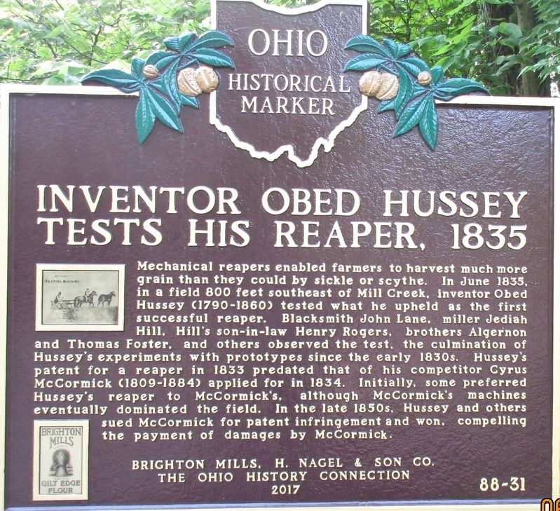 Inventor Obed Hussey Tests His Reaper, 1835 Marker image. Click for full size.