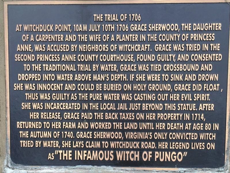 The Trial of 1706 Marker image. Click for full size.