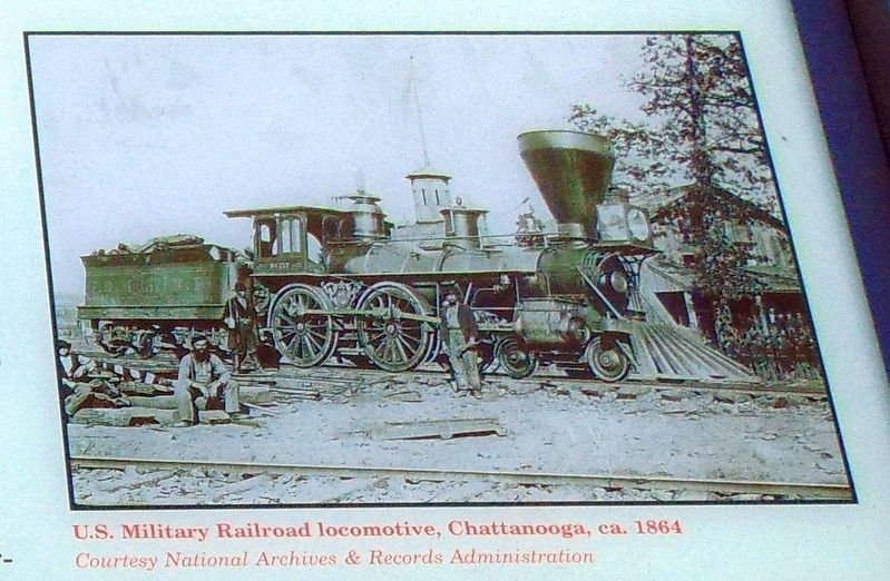 U.S. Military Railroad locomotive, Chattanooga, ca. 1864 image. Click for full size.