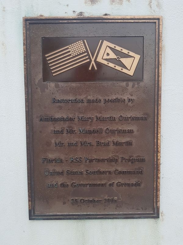 A restoration plaque on the Memorial to the Fallen in Grenada image. Click for full size.