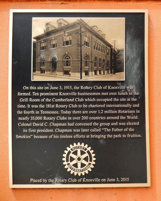 Rotary Club of Knoxville Marker image. Click for full size.