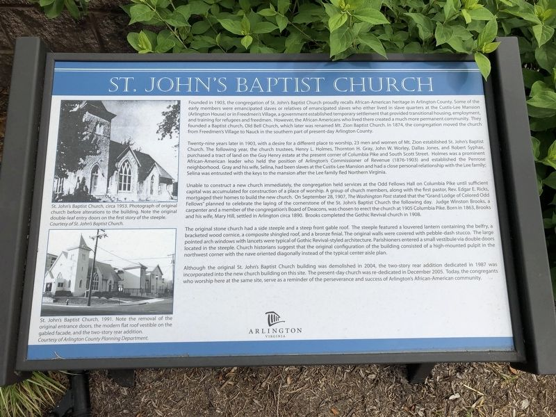 St. John's Baptist Church Marker image. Click for full size.