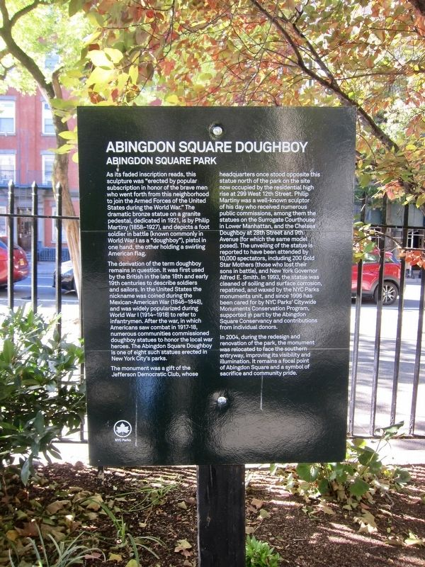 Abingdon Square Doughboy Marker image. Click for full size.