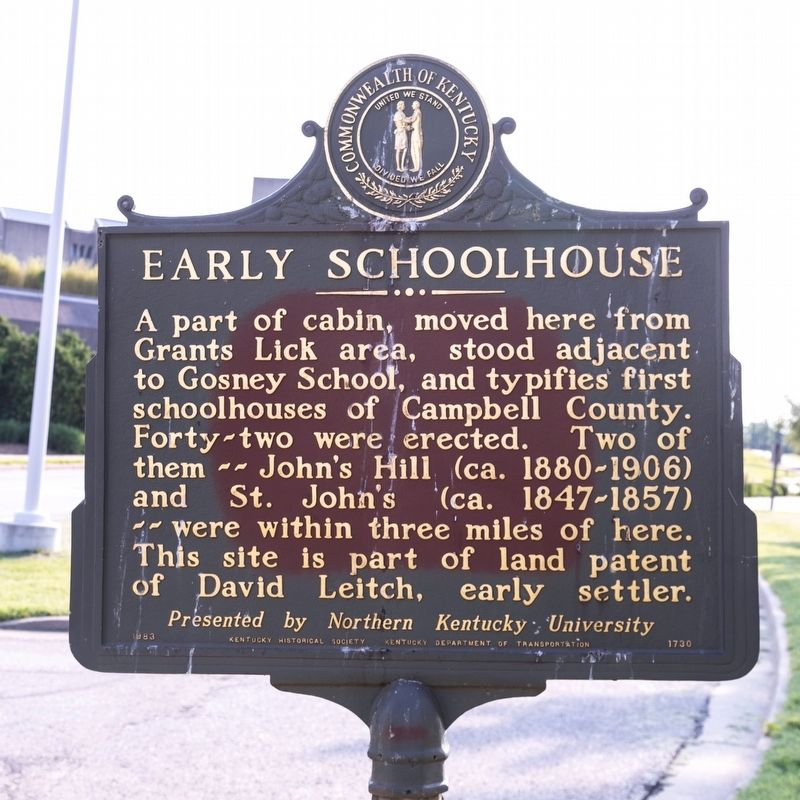 Early Schoolhouse side of marker image. Click for full size.