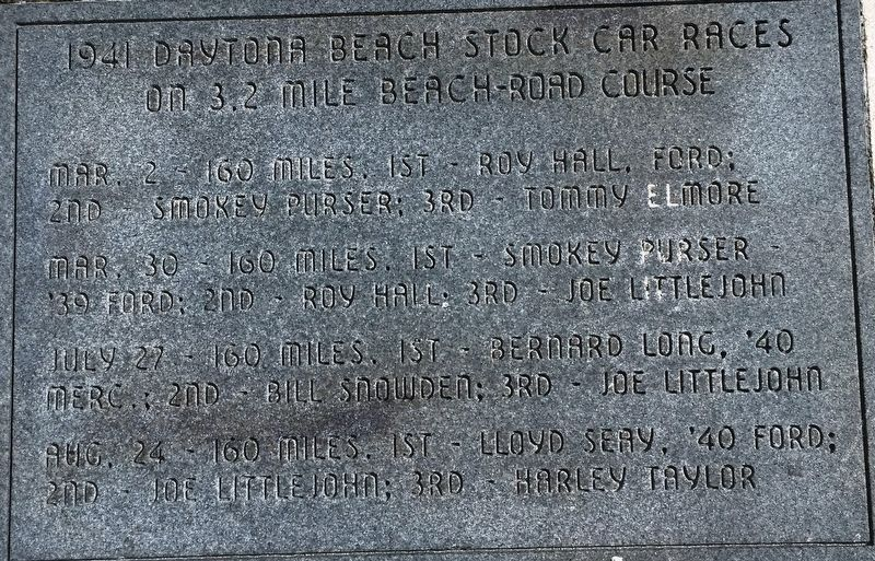 1941 Daytona Beach Stock Car Races Marker image. Click for full size.