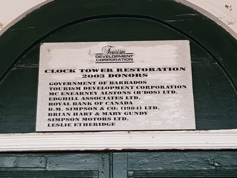 A dedication plaque for the 2003 restoration of The Main Guard's iconic tower image. Click for full size.