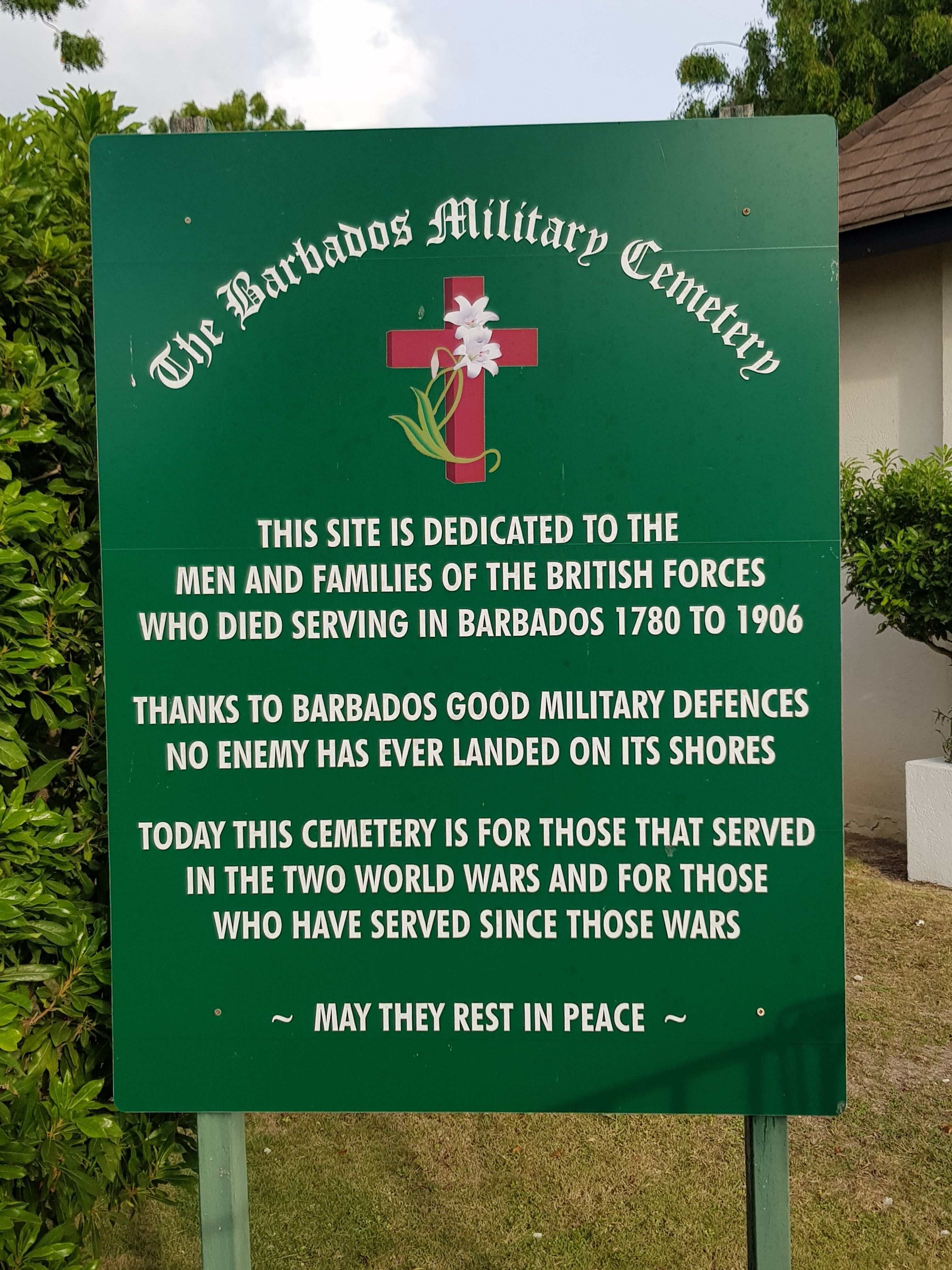 The Barbados Military Cemetery Marker