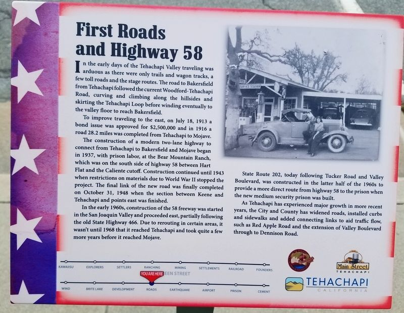 First Roads and Highway 58 Marker image. Click for full size.