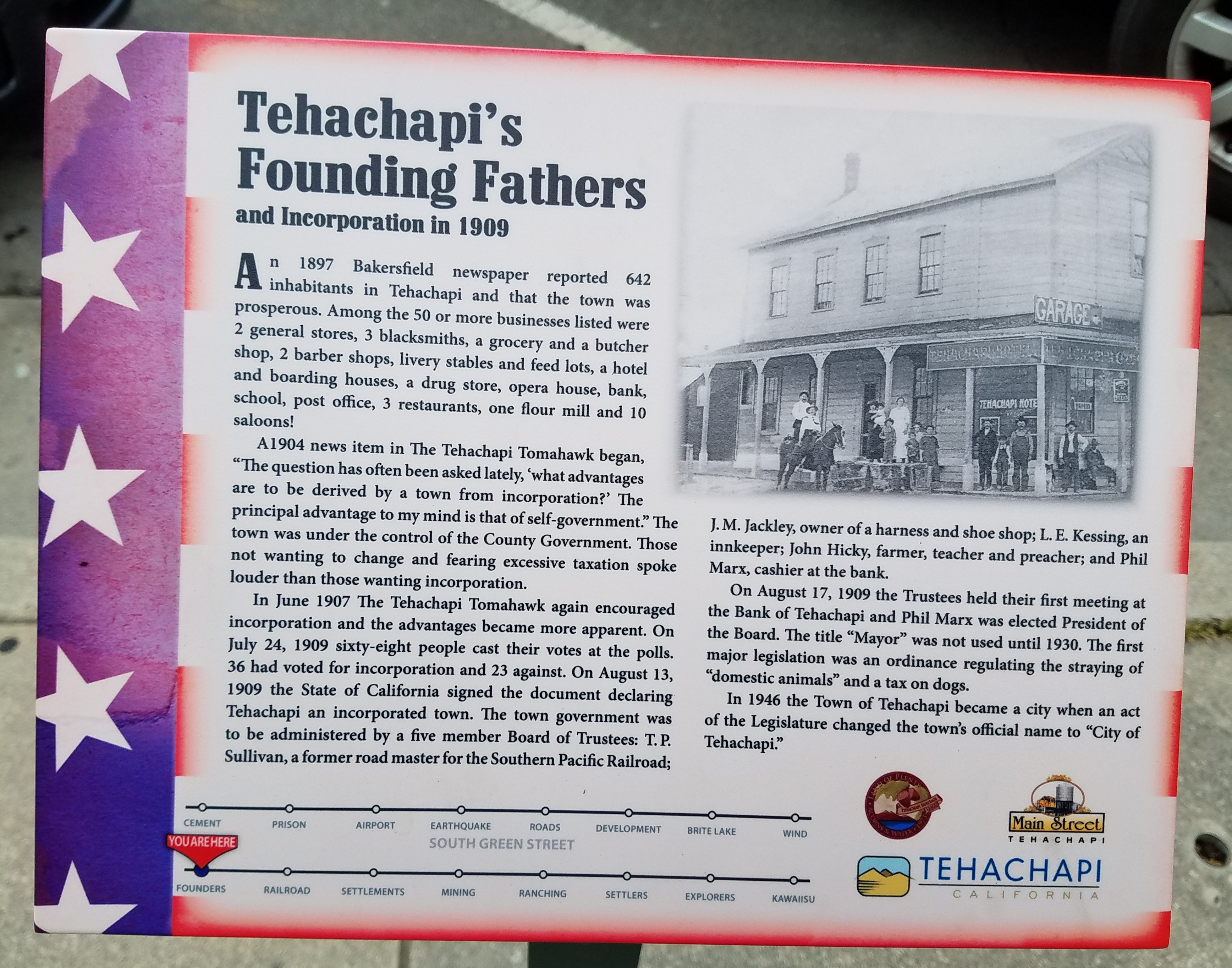 Tehachapi's Founding Fathers And Incorporation in 1909 Marker
