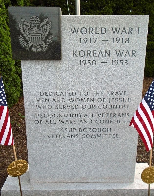 Veterans Memorial WWI and Korea Marker image. Click for full size.
