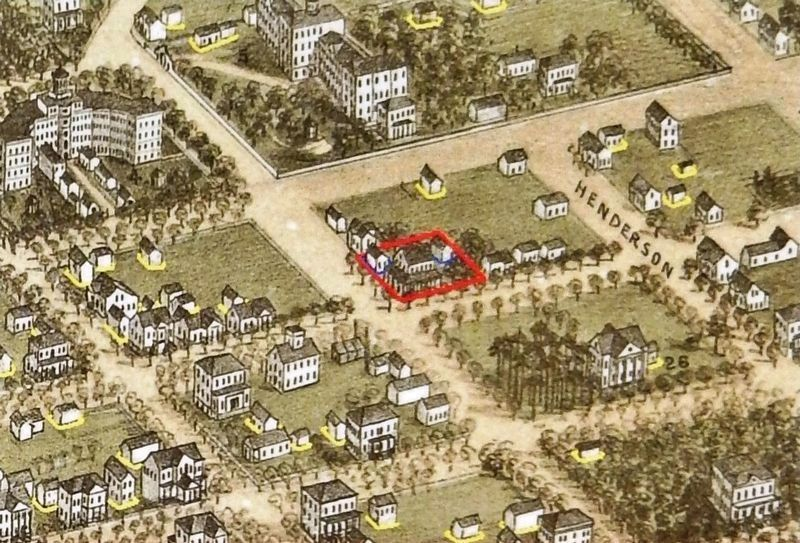 Marker detail: Early homes for wealthy Columbians<br>(<i>support buildings outlined in yellow</i>) image. Click for full size.