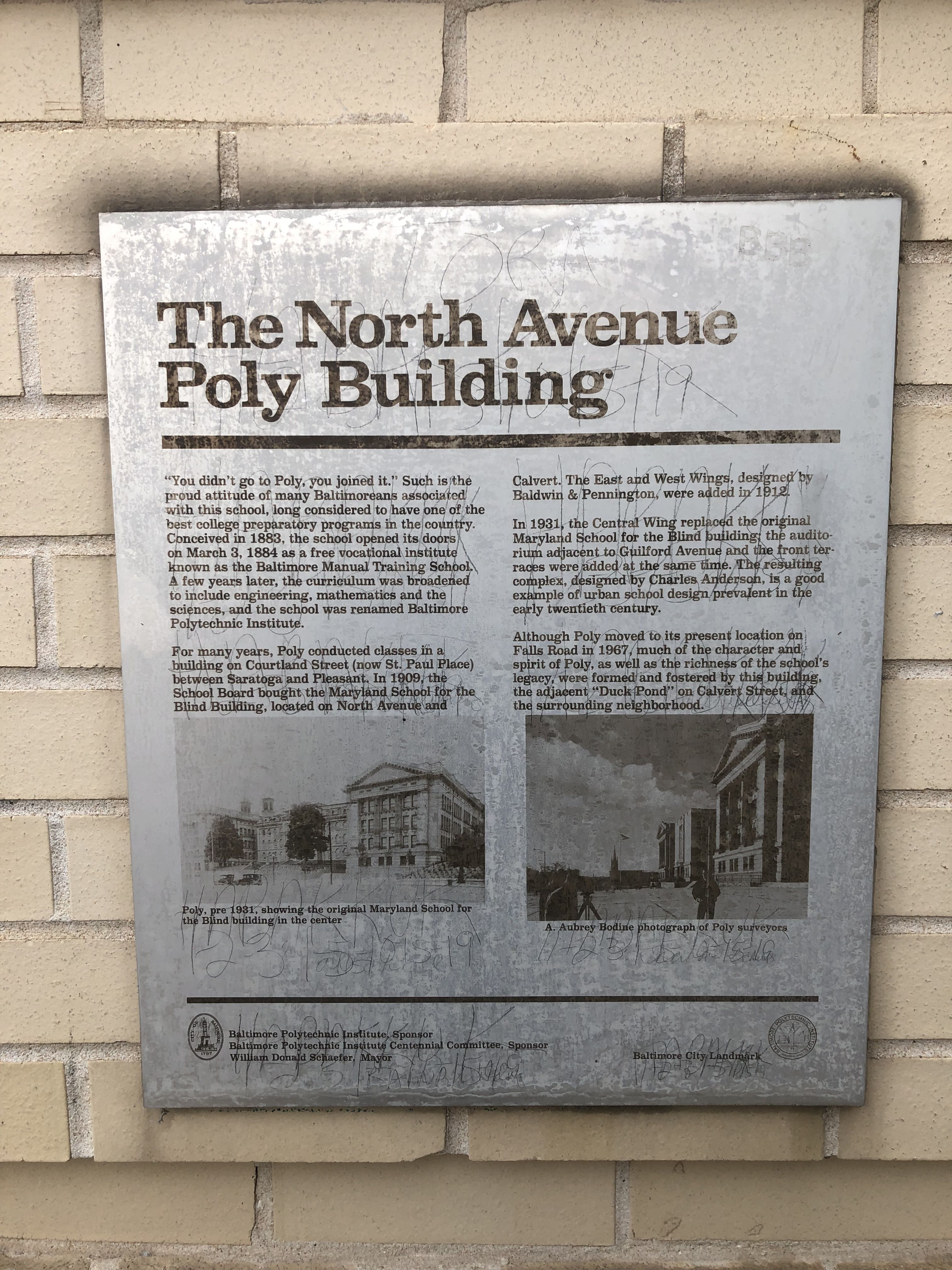 The North Avenue Poly Building Marker