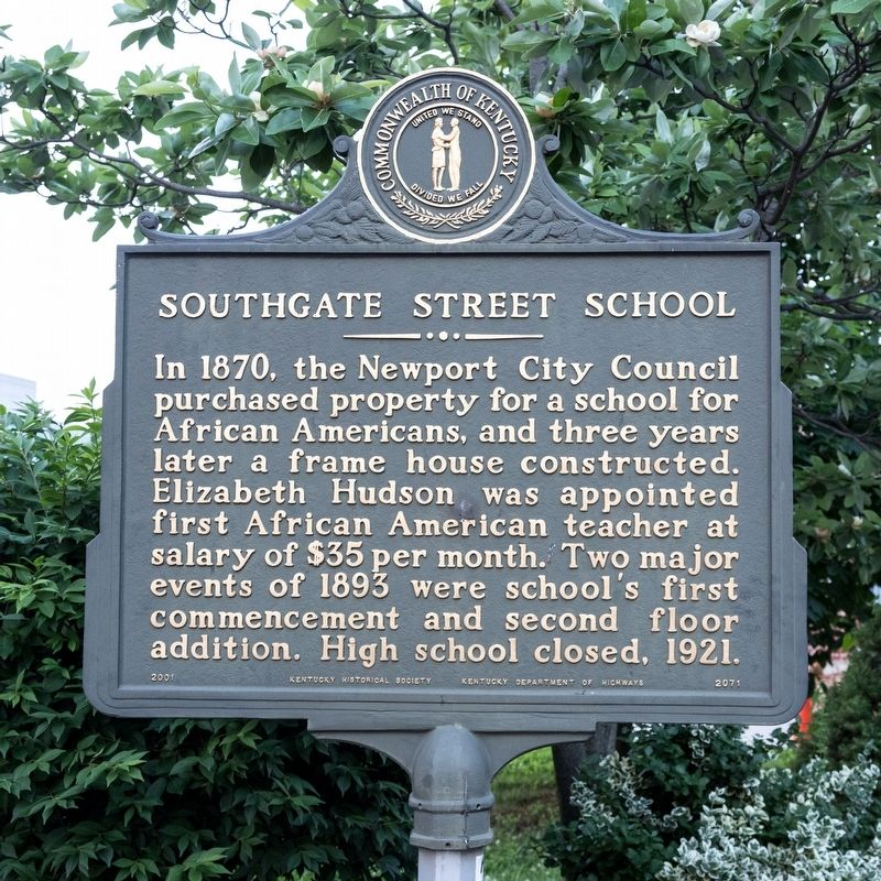 Southgate Street School Marker, side one image. Click for full size.