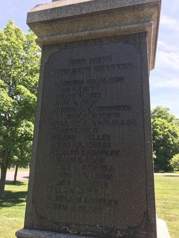 Died Since Monument Erected. image. Click for full size.