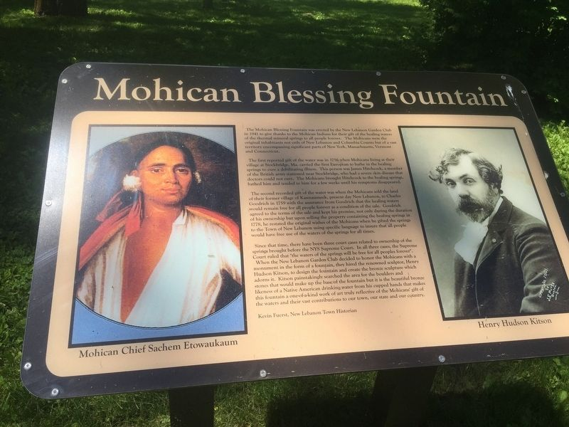 Mohican Blessing Fountain Marker image. Click for full size.