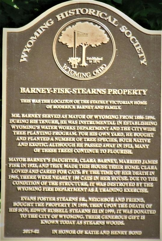 Barney- Fisk Stearns Property Marker image. Click for full size.