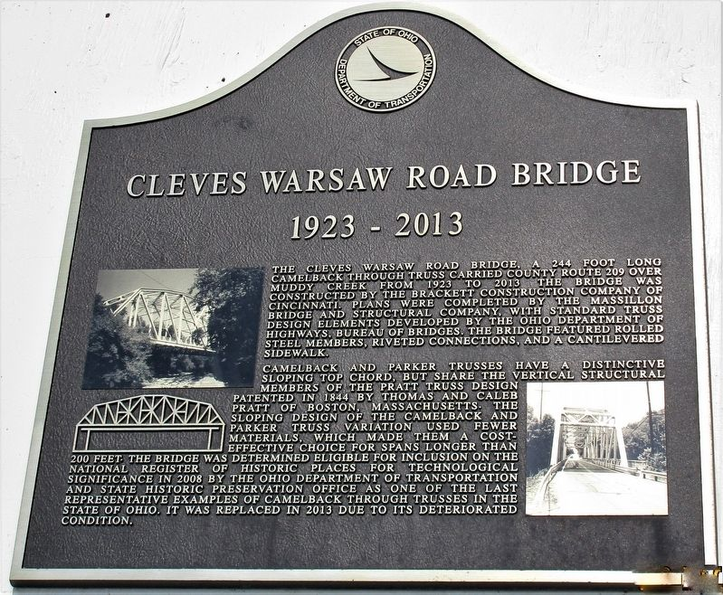 Cleves Warsaw Road Bridge Marker image. Click for full size.
