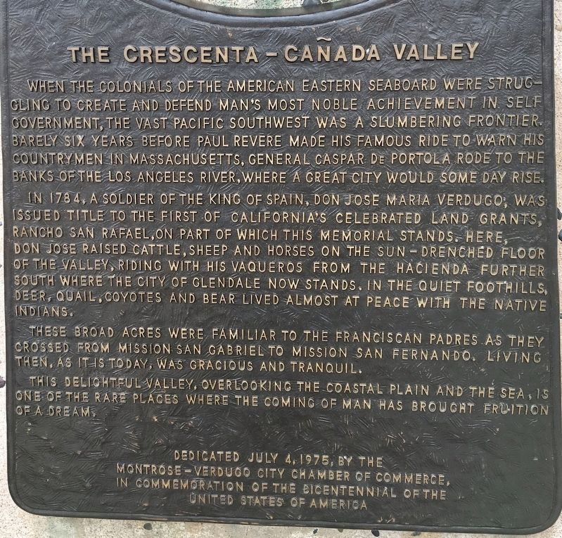 The Crescenta-Cañada Valley Marker image. Click for full size.