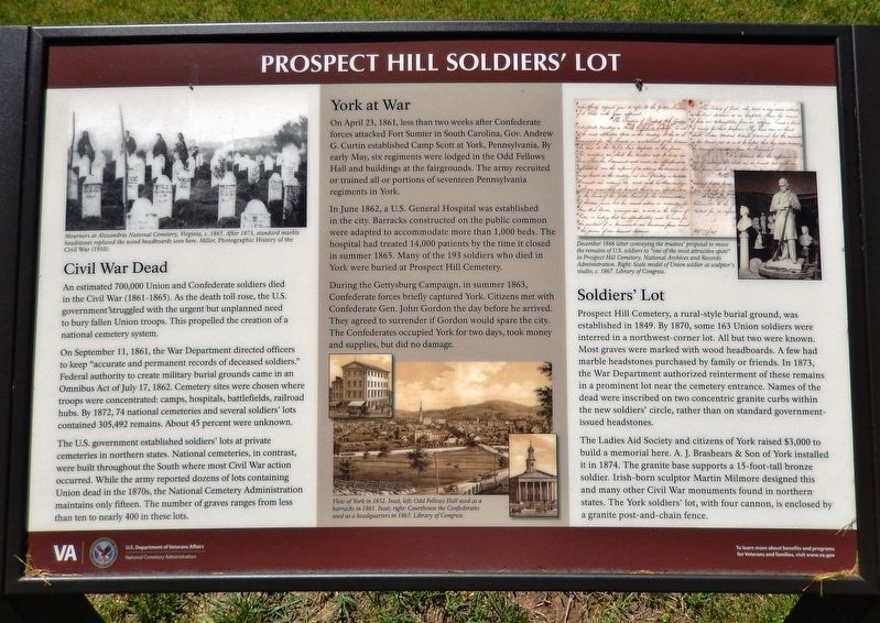 Prospect Hill Soldiers' Lot Marker image. Click for full size.