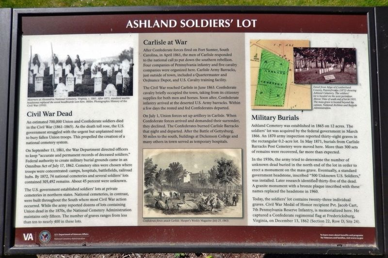Ashland Cemetery Soldiers' Lot Marker image. Click for full size.