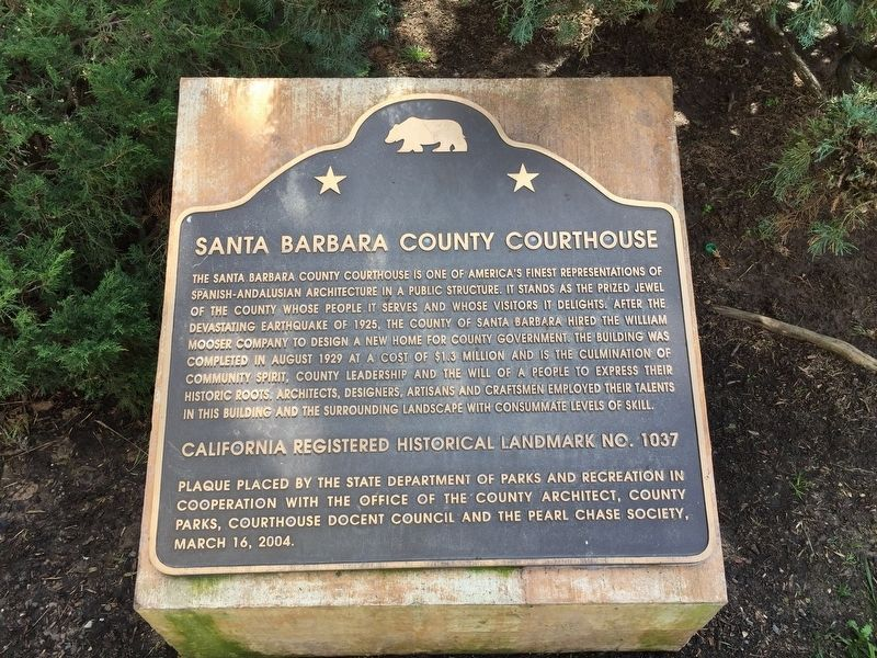 Santa Barbara County Courthouse Marker image. Click for full size.