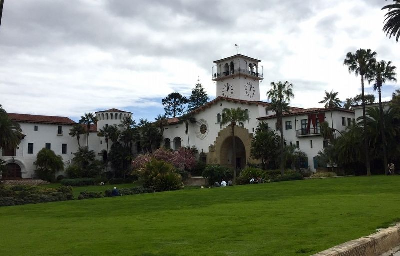 Santa Barbara County Courthouse and Gardens - looking S-SE from Anapamu Street image. Click for full size.