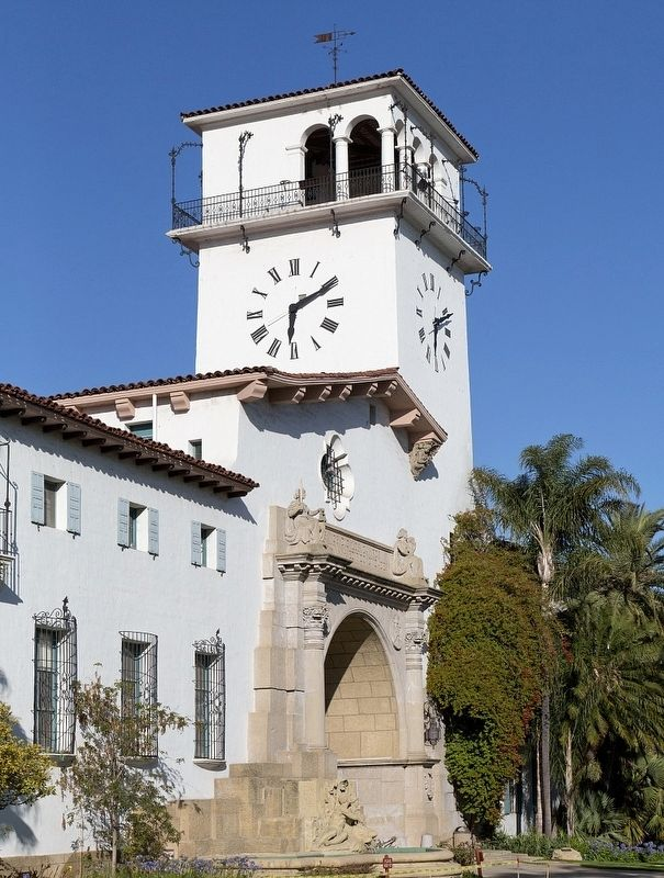 Santa Barbara County Courthouse - Clocktower - Anacapa Street side image. Click for full size.