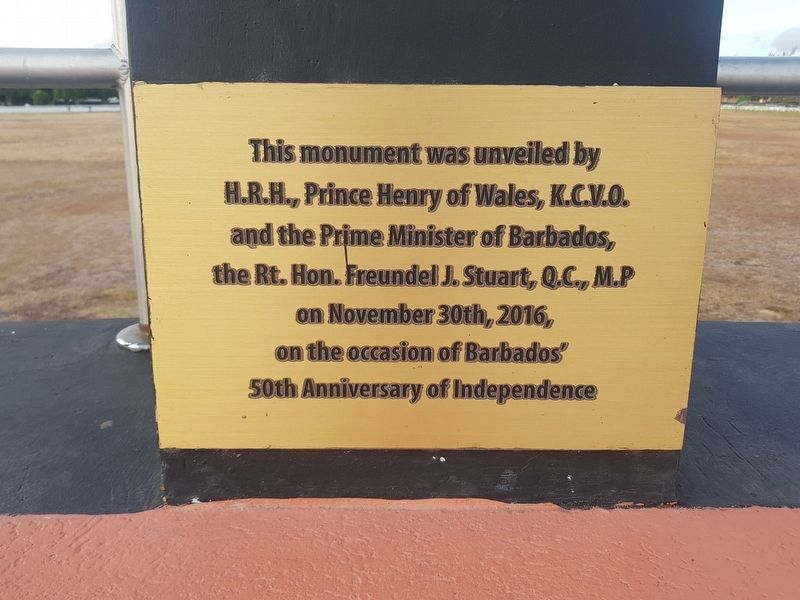 The dedicatory plaque of the Barbados Independence Monument image. Click for full size.