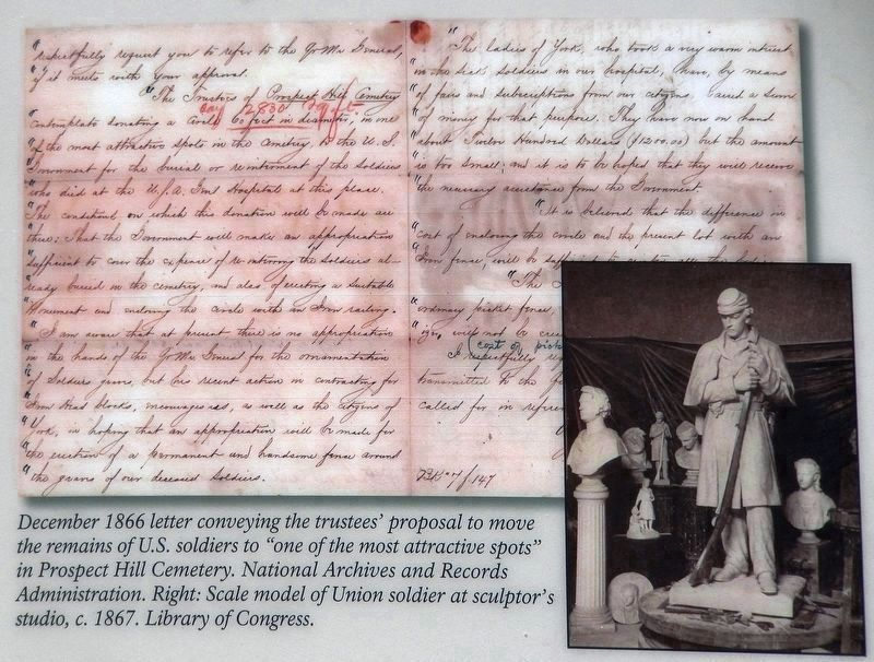 Marker detail: December 1866 letter (top)<br>Scale model of Union soldier (right) image. Click for full size.