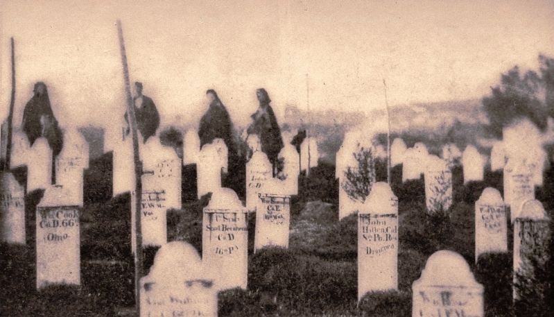 Marker detail: Mourners at Alexandria National Cemetery, Virginia, c. 1865 image. Click for full size.