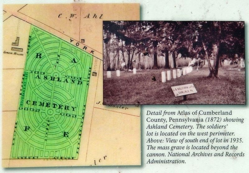 Marker detail: Ashland Cemetery, 1872 image. Click for full size.