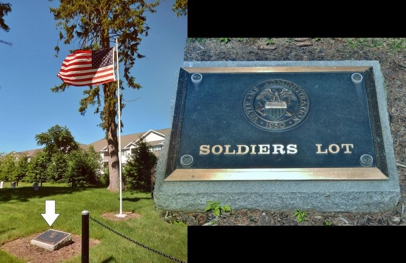 Ashland Soldiers' Lot Flag Pole & Plaque<br>(<i>located about 50 yards south of marker</i>) image. Click for full size.