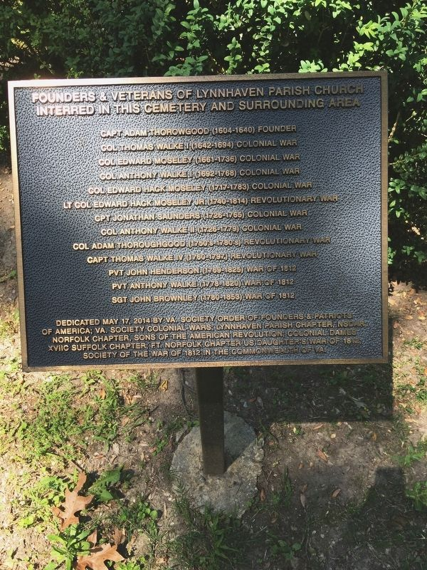 Founders and Veterans of Lynnhaven Parish Church Marker image. Click for full size.