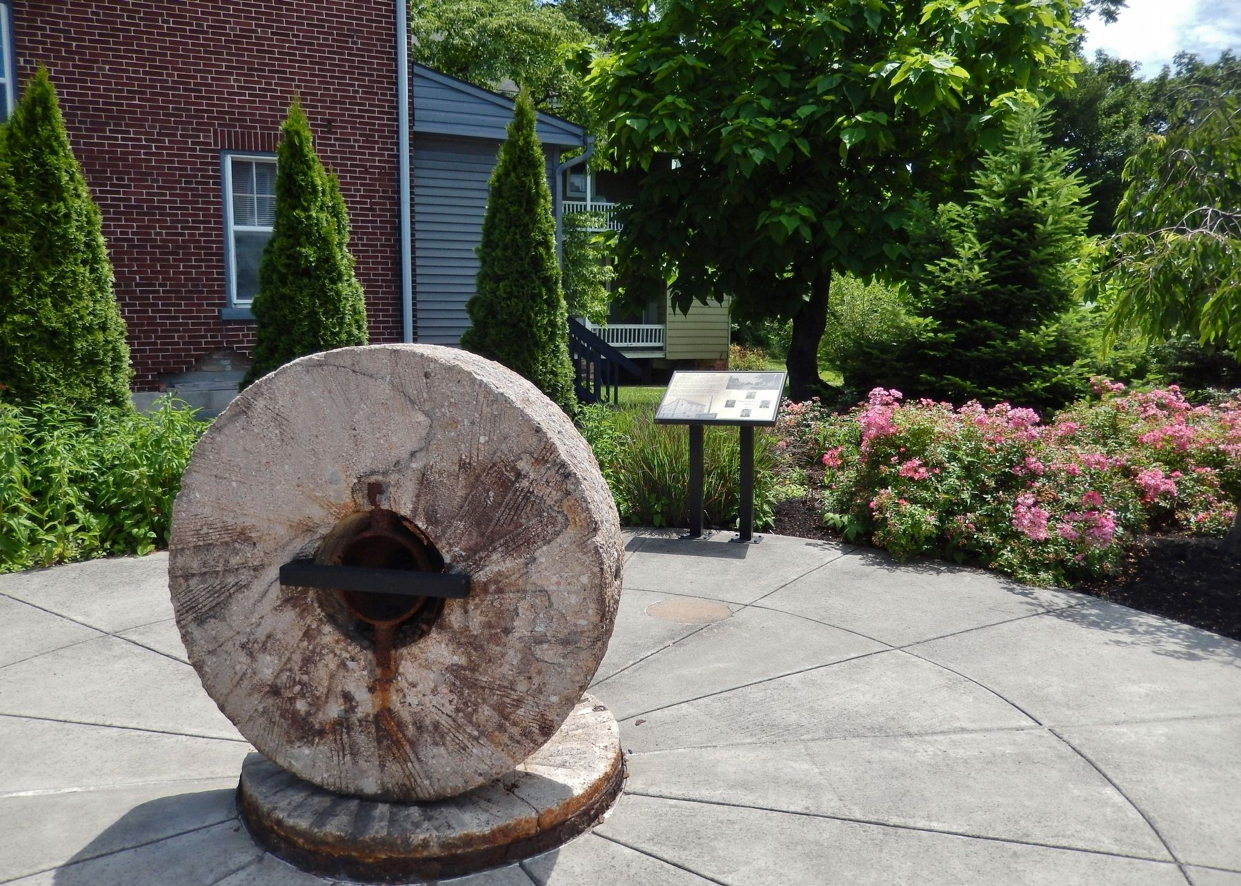 Millstone Plaza History Marker (<i>wide view from Bainbridge Street • marker in background</i>) image. Click for full size.