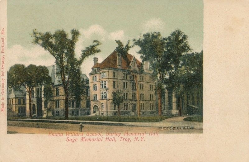 <i>Emma Willard School, Gurley Memorial Hall, Sage Memorial Hall, Troy, N.Y.</i> image. Click for full size.